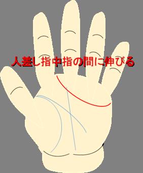 人差し指と中指の間にのびる感情線