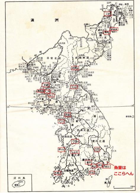 朝鮮地図_貸座敷所在地