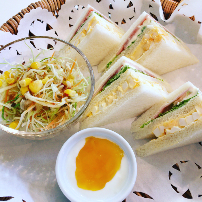 ルネ珈琲モーニング サンドイッチ