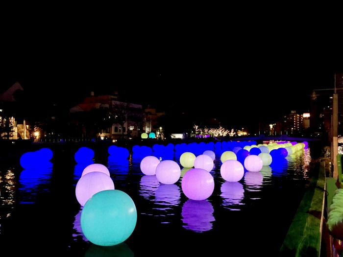 徳島LEDアートフェスティバル 呼応する球体のゆらめく川