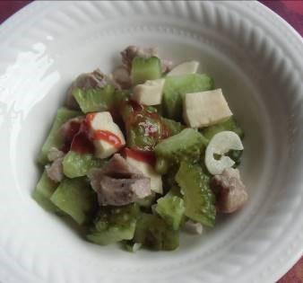 こうや豆腐とニガウリ