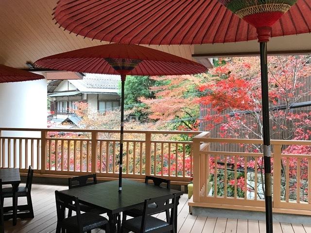 京都温泉宿からの紅葉