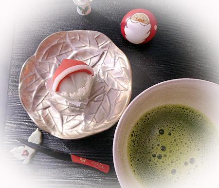 サンタ和菓子・お抹茶
