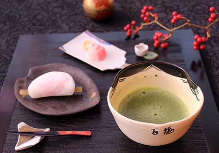 お抹茶で花びら餅4