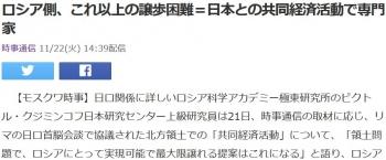 newsロシア側、これ以上の譲歩困難=日本との共同経済活動で専門家