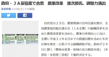 news政府・JA妥協案で合意 農業改革 進次郎氏、調整力演出