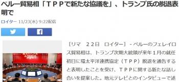newsペルー貿易相「TPPで新たな協議を」、トランプ氏の脱退表明で