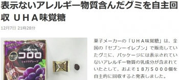 news表示ないアレルギー物質含んだグミを自主回収 UHA味覚糖
