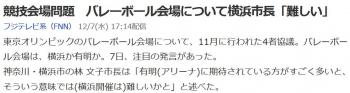 news競技会場問題 バレーボール会場について横浜市長「難しい」