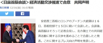news<日露首脳会談>経済活動交渉推進で合意 共同声明