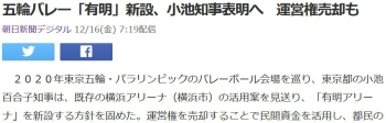 news五輪バレー「有明」新設、小池知事表明へ 運営権売却も