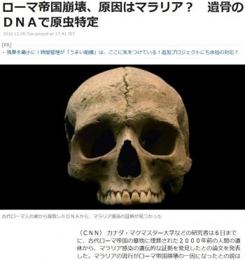 newsローマ帝国崩壊、原因はマラリア? 遺骨のDNAで原虫特定