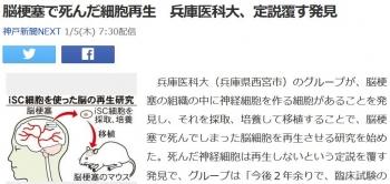 news脳梗塞で死んだ細胞再生 兵庫医科大、定説覆す発見