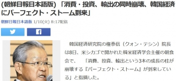 news(朝鮮日報日本語版) 「消費・投資、輸出の同時崩壊、韓国経済にパーフェクト・ストーム到来」