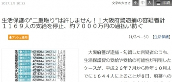"ten生活保護の""二重取り""は許しません!!大阪府警逮捕の容疑者計1169人の支給を停止、約7000万円の過払い防ぐ"
