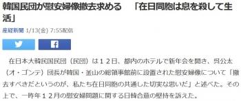 news韓国民団が慰安婦像撤去求める 「在日同胞は息を殺して生活」
