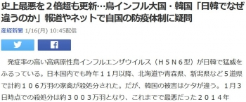 news史上最悪を2倍超も更新…鳥インフル大国・韓国「日韓でなぜ違うのか」報道やネットで自国の防疫体制に疑問