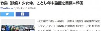 news竹島(独島)少女像、ことし年末設置を目標=韓国