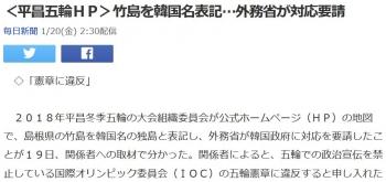 news<平昌五輪HP>竹島を韓国名表記…外務省が対応要請