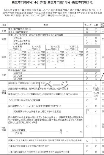 高度専門職ポイント計算表(高度専門職1号ハ・高度専門職2号)
