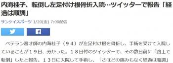 news内海桂子、転倒し左足付け根骨折入院…ツイッターで報告「経過は順調」