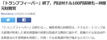 news「トランプフィーバー」終了、円は対ドル100円突破も-榊原元財務官