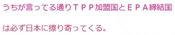 tenうちが言ってる通りTPP加盟国とEPA締結国は必ず日本に擦り寄ってくる