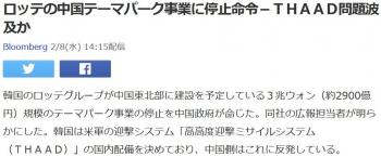 newsロッテの中国テーマパーク事業に停止命令-THAAD問題波及か