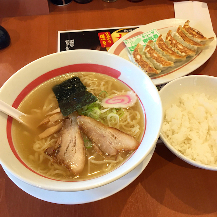 幸楽苑@宇都宮市 塩らーめん(421円)+ ライス(162円)+ 餃子(0円)
