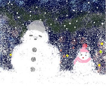 並んだ雪だるま