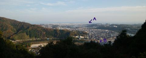 山頂から市街地望む