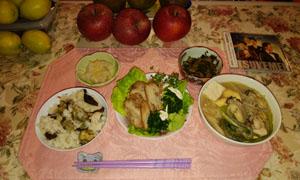 カキ土手鍋とかきご飯と焼き豚