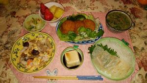 コロッケ 刺身 ちらし寿司