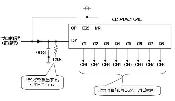 デジタルプロポの信号フォーマットデコーダ3回路図
