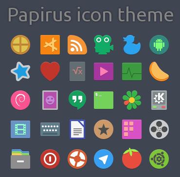 Papirus Ubuntu アイコンテーマ プレビュー