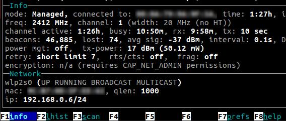 Wavemon Ubuntu 無線LAN 接続情報