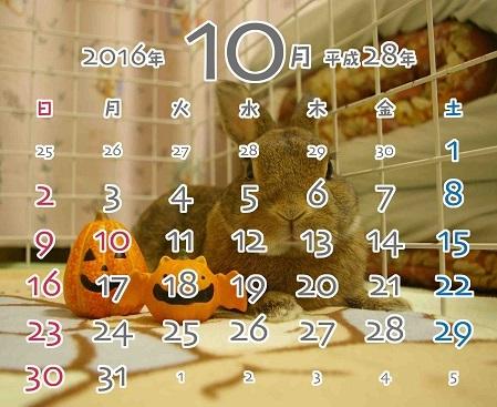 2016年10月卓上カレンダー