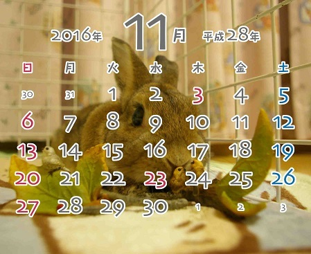 2016年11月卓上カレンダー