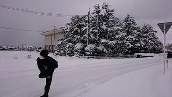 雪玉投げて遊ぶ