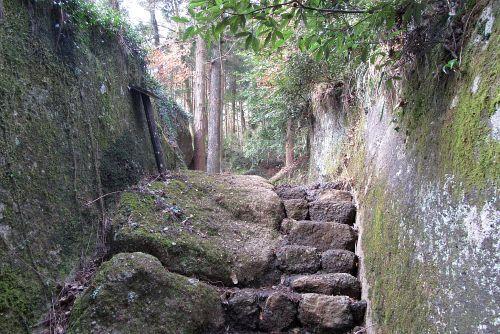 巨岩の間を登る