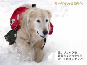 赤いリュックを背負ってさっそうと雪山をかける ケフィ