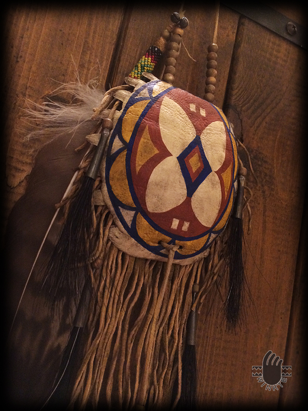 Turtle Medicine Pouch and Beaded Feather (Parfleche style painted) 3 logo ver