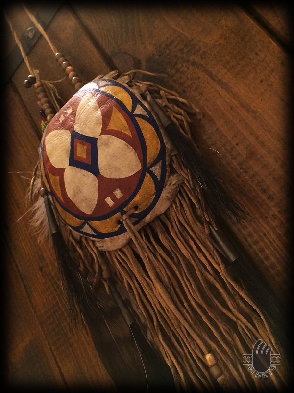 Turtle Medicine Pouch and Beaded Feather (Parfleche style painted) 4 logo ver