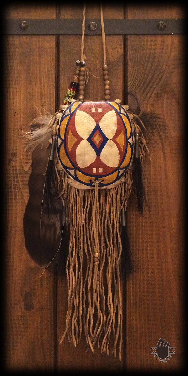 Turtle Medicine Pouch and Beaded Feather (Parfleche style painted) 1 logo ver