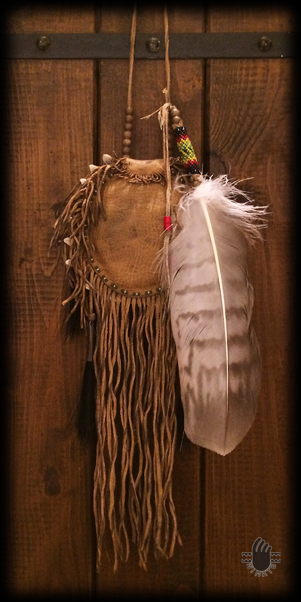 Turtle Medicine Pouch and Beaded Feather (Parfleche style painted) 2 logo ver