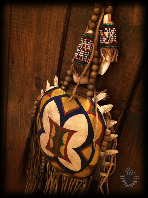 Turtle Medicine Pouch and Beaded Buffalo Tooth (Parfleche style painted) 5 logo ver