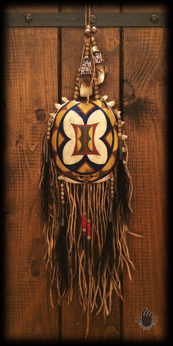 Turtle Medicine Pouch and Beaded Buffalo Tooth (Parfleche style painted) 1 logo ver
