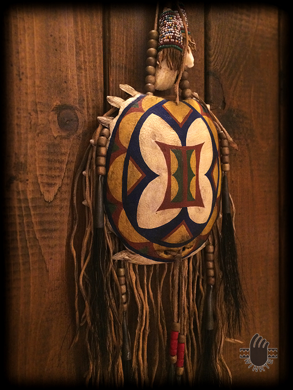 Turtle Medicine Pouch and Beaded Buffalo Tooth (Parfleche style painted) 3 logo ver