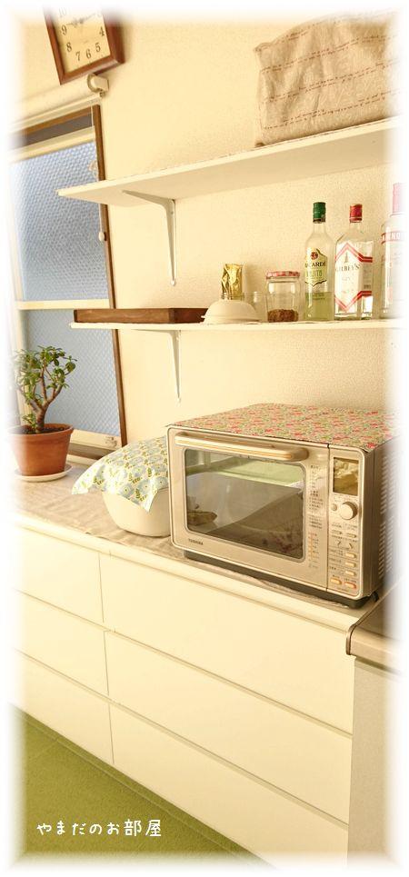 キッチン横に棚を付けました