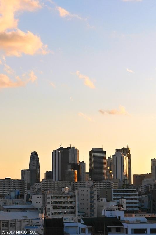 0098 西高東低 夕日を浴びる新宿高層ビル群 (東京都 新宿区)
